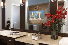 Transitional Vanity Lighting Seura Mirror Tv Bathroom Contemporary With Floral Arrangement Bath