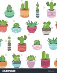 Cute Succulent Pots Seamless Pattern Hand Drawn Cacti Succulents Stock Vector