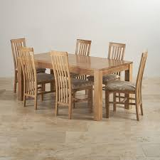 oakdale natural solid oak dining set 6ft table with 6 slat back
