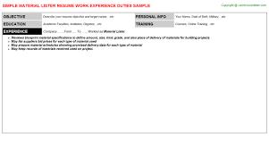material lister resume sample
