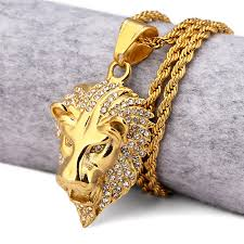 titanium mens jewelry necklace images Titanium steel lion king necklaces women men jewelry gifts gold jpg