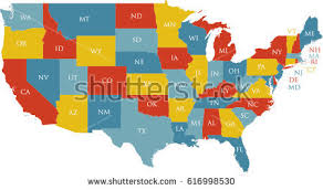 united states map with states on it united states map labeled postal abbreviations stock vector