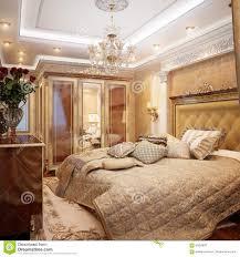 luxurious classic baroque bedroom interior desig stock