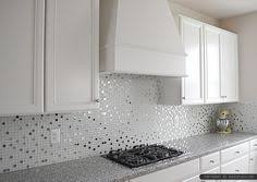 Look How The Glass Tile Backsplash Contains All Of The Colors From - Glass kitchen backsplash
