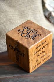 baptism engraved gifts baptism gift christening wooden engraved cube by enjoythewood