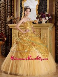 gold quince dresses sequin sweetheart made flowers tulle dress for quinceanera