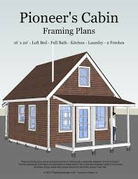 small cabin plans with porch pioneer s cabin v 2 16 x20 living room kitchen bathroom loft