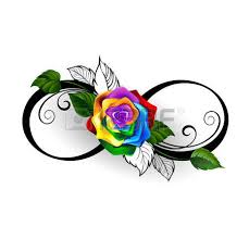 infinity symbol with roses and black stalks on a white
