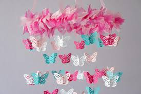 Nursery Mobile Hot Pink & Aqua Butterfly Mobile graphy