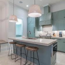 Beach Cottage Kitchen by Blue Kitchen Cabinets With Arabesque Backsplash Tiles Cottage