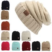 unisex cc trendy hats winter knitted woolen beanie label fedora