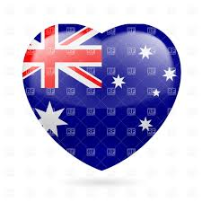 Austrslia Flag Heart With Australian Flag Colors I Love Australia Royalty Free