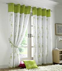 tahiti eyelet lined voile curtains lime 56 x 90 inch amazon co