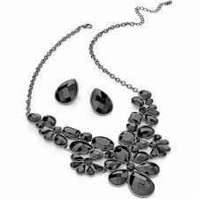 earrings statement necklace images Ladies hematite plated costume black faceted imitation stone jpg