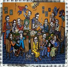 day of the dead tin wallhangings thanksgiving feast