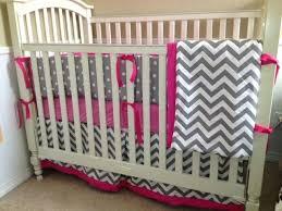 Grey Chevron Crib Bedding Set Pink And Gray Chevron Baby Bedding Hot Pink And Grey Chevron Baby