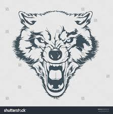 angry wolf head beautiful wolf tattoo stock vector 600582932
