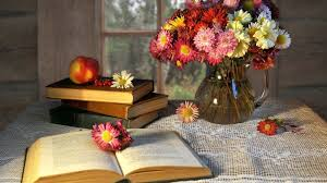 books and flowers on the table in the wooden house hd wallpaper