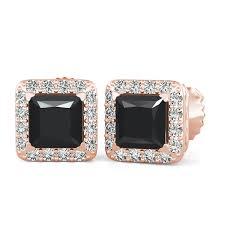 back stud earrings 70 3 55 ct princess black white diamond halo earrings
