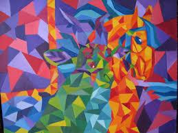 cubism colours brush paint and go