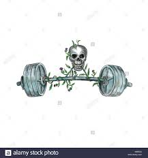 tattoo style illustration of a skull lifting a heavy weight