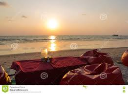 romantic dinner with sunset beach and ocean on koh chang island