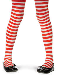 child christmas theme striped tights costume accessory red white