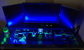 Corner Gaming Desk by Amazing Water Cooled Pc In A Desk Geeky Things Pinterest