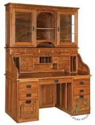 Oak Crest Desk Amish Computer Roll Top Desk With Pull Out Return Desks Desk