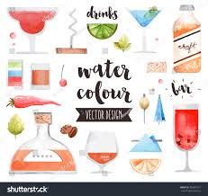 alcoholic drinks clipart premium quality watercolor icons set alcohol stock vector