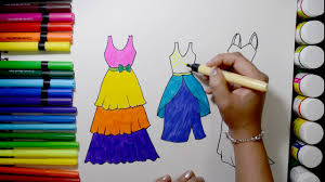 draw and color barbie dresses coloring page and learn colors for
