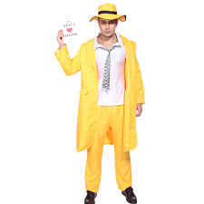 mens 90s yellow gangster zoot suit the mask jim carrey costume