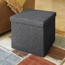 Folding Storage Ottoman Seville Classics Charcoal Grey Storage Bench Web284 The Home Depot