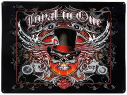 harley davidson loyal to one skull sign ande rooney signs