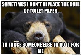 Toilet Paper Roll Meme - sometimes i don t replace the roll of toilet paper to force