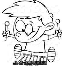 vector of a happy cartoon boy playing a xylophone coloring page