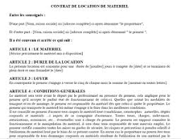 lettre de demande de fourniture de bureau modèle d un contrat de location de matériel