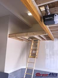 storage loft in garage w pull down stairs overhead garage storage
