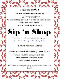 sip and shop invitation sip n shop 2012 vendor invitation valley ranch association