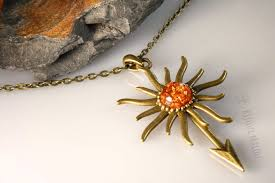 orange stone necklace images Sun spear amber necklace bijoux malou jpg