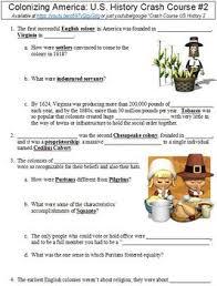 crash course u s history 2 colonizing america worksheet tpt