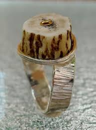 Deer Antler Wedding Rings by Custom Deer Antler Riveted Sterling Silver Rings By Betoj Designs