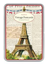 Barnes And Noble Postcards Amazon Com Cavallini Paris Carte Postale 18 Postcards Per Tin
