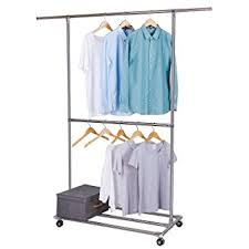 amazon com lifewit double rods garment rack rolling hanging racks
