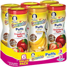 graduates snacks gerber finger foods puffs 3 strawberry and apple puffs and 3