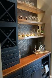graceful basement wet bar designs with brick stone counter also