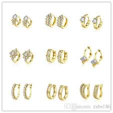 small gold earrings 2018 mixed style plated 18 gold small hoop earrings cz diamonds
