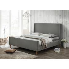 luxeo bedford king upholstered platform bed in gray lux k8816 wgry