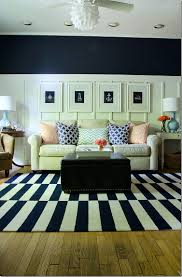 Orange And White Striped Rug Navy And White Board U0026 Batten Living Room Design