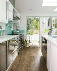 outstanding galley kitchen designs with breakfast bar images